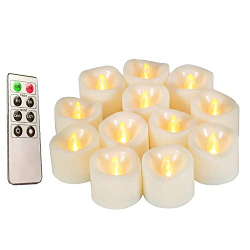 Flameless Candles, Realistic Flickering Votive Candle Tea Light Battery Operated, 200 Hours of Nonstop Working with Remote and 4/8 Hours Timer, Pack of 12 LED Candles