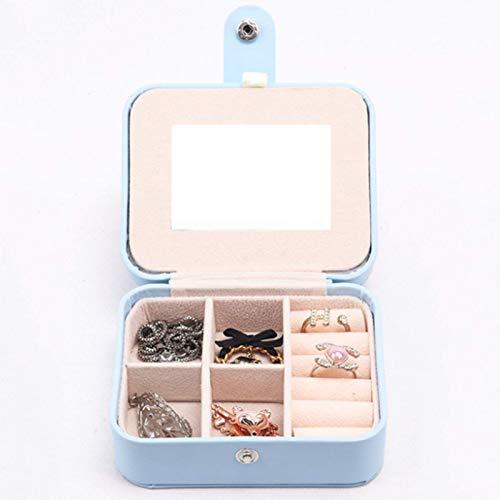 Joyero pequeño Caja de Almacenamiento, Joyero de Viaje de Cuero con Espejo de PU, Caja de exhibición de Almacenamiento de Pendientes de Anillo de Collar (para Hombres y Mujeres)