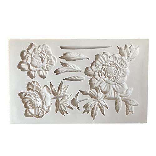 XIANZI Molde de resina epoxi, molde de silicona, molde de resina epoxi, molde para fondant de flores y hojas para decoración de peonías, molde de mousse para cupcakes de polímero