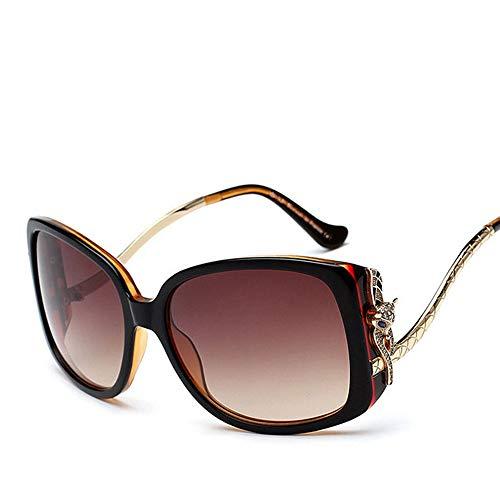 WOYBAOF Gafas de Sol polarizadas, Gafas de Sol de Moda con Cabeza Alta de Fox Head para Mujeres Gafas de Sol de Gama Alta Vintage para Viajes al Aire Libre (Color : Black/Brown)