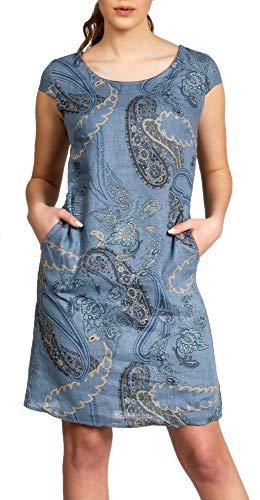 Caspar SKL022 Damen Sommer Leinenkleid mit Paisley Print bis Größe 50, Farbe:Jeans blau, Größe:5XL - DE50 UK22 IT54 ES52 US20