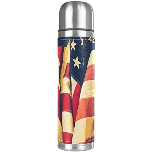 Thermos ThermoCafé Botella térmica aislada,Banderas Americanas Descoloridas,Frasco de Vacío de Acero Inoxidable 500 ml
