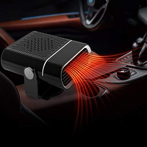 AQOTER Calentador de Automóvil Portátil 12V 150W, 2 en 1 Calefactor y Ventilador para Coche Descongelador de Parabrisas