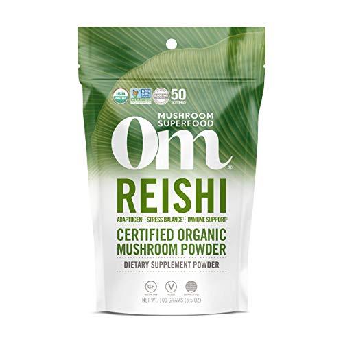 Om Organic Reishi Mushroom Powder, Adaptogen, Stress & Immune Support, Superfood Mushroom Supplement, 2000mg dose (50 Servings) 3.5 Ounce