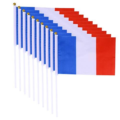 BESTOYARD 20 stücke Frankreich Handflaggen Mini Französisch National Country Handfahne 14x21 cm (Gold Ball White Stick)