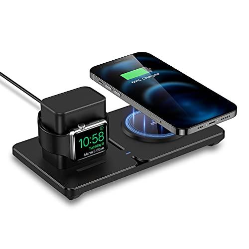 ESR Cargador Inalámbrico Magnético 2 en 1 con HaloLock Soporte para iWatch, MagSafe Cargador para iPhone 12/AirPods Pro, Magsafe Soporte para iWatch 5/4/3/2, Adaptador/Cable del Reloj No Incluidos