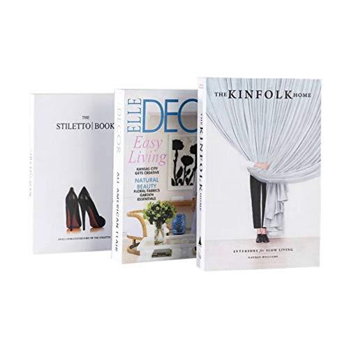 Healifty 3 Piezas Libro Decorativo imitación Libro Foto Prop para Oficina Mesa Bar Tienda de té decoración patrón Aleatorio