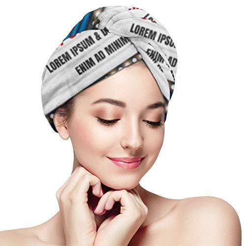XBFHG Envolturas de toallas de microfibra para el cabello para mujeres Gorra de cabello rápido y seco con botón - Marquee Theater Cinema Sign Light Mostrando ahora Movie Hollywood Premiere