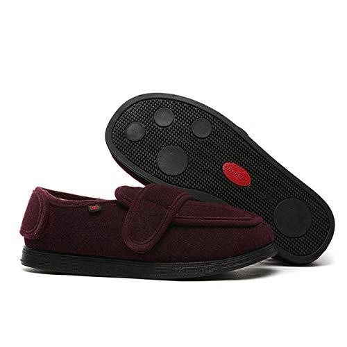 Nwarmsouth Zapatos ortopédicos Ajustables,Pantuflas Ajustables para el Pulgar en valgo, pies lesionados y Zapatos hinchados-36_ Rojo Vino,Zapatos ortopédicos Ajustables