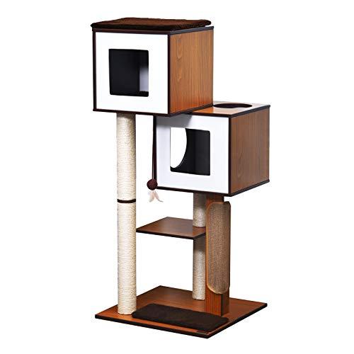 Pawhut Arbre à Chats Design Contemporain griffoirs grattoirs sisal Naturel niches Plateformes Jeu...