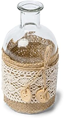 AF - Botella tipo jarrón decorativo, yute y encaje, diseño bohemio