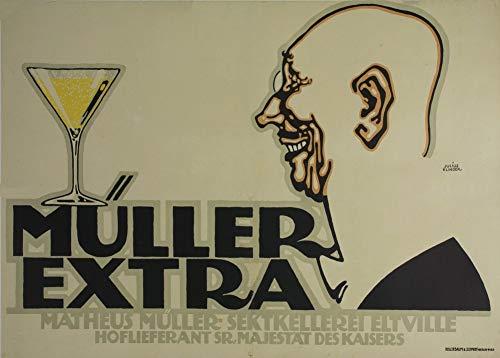 Vintage bieren, wijnen en sterke drank 'Müller Extra', Denemmarken door Julius Klinger, 1912, 250gsm Zacht-Satijn Laagglans Reproductie A3 Poster
