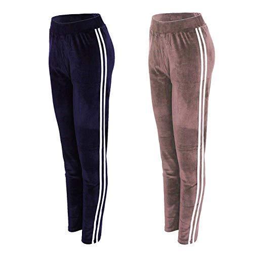 Dames (2 stuks) fluweel (velours) joggingpak broek Active Gym Yoga Fitness laag 8-14