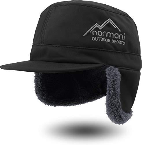 normani Wintermütze Cap Winddicht mit Ohren- und Nackenschutz und Fleece-Innenfutter Farbe Schwarz Größe S/55