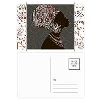 アフリカの黒人女性の土着の頭飾り 公式ポストカードセットサンクスカード郵送側20個