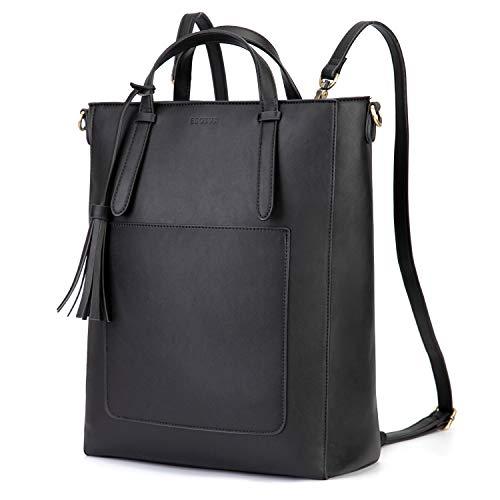 ECOSUSI Rucksack Damen Handtasche Multifunktion 3 In 2 Tote bag Tragetasche für Die Arbeit Schule Reisen,Schwarz