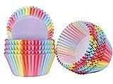 FORORE 200PCS tazas para hornear envolturas de magdalenas fundas de papel arco iris fundas magdalenas magdalenas para postres boda fiesta de cumpleaños