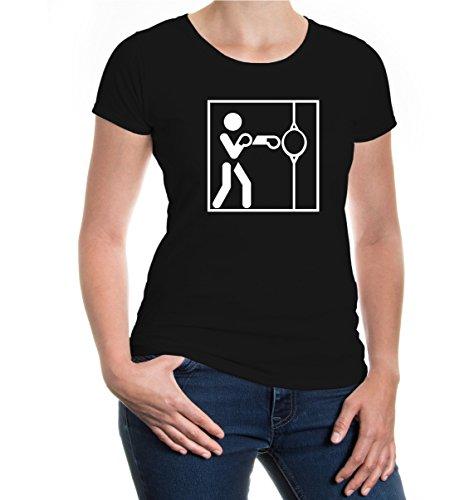 Girlie T-Shirt Punching Ball-Piktogramm-XXL-Black-White