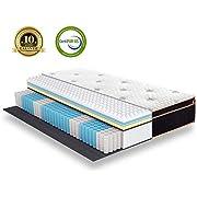 BedStory Federkernmatratze 140x200cm Höhe 27cm, 7 Zonen Taschenfederkernmatratze härtegrad H3 mit 3D Memory Foam, Boxspringmatratze, Ergonomische Matratze für erholsamen Schlaf, 10 Jahre Garantie