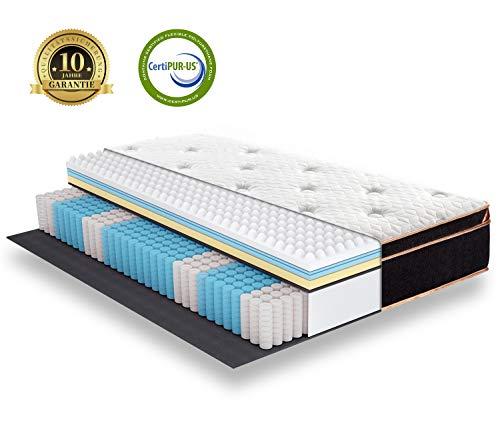BedStory Federkernmatratze 140x200cm, 7 Zonen Taschenfederkernmatratze härtegrad H3 mit 3D Memory Foam, Boxspringmatratze Höhe 27cm, Ergonomische Matratze für erholsamen Schlaf, 10 Jahre Garantie