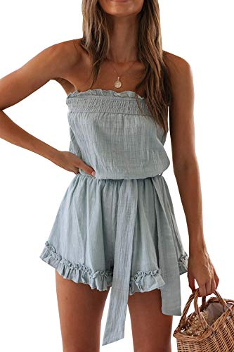 R.Vivimos Women's Summer Linen Ruffles Boho Casual Tube Playsuits Short Jumpsuit Rompers (Small, Blue Style #2)