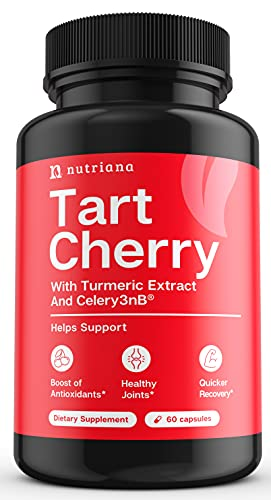 Tart Cherry Extract Capsules with Celery Seed and Turmeric 2500 mg | Uric Acid Cleanse Support, Joint Comfort and Muscle Recovery| Benefits of Tart Cherry Juice Concentrate - 60 Capsules
