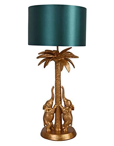 Tischlampe Jungle Gold Elephant Nachttischlampe Elefant Leuchte Palme cw252 Palazzo Exklusiv