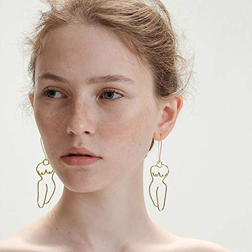 GMZOO Modern Style Gold Body Dangle Ohrringe für Frauen Original Simple Artsy Outline Drop Ohrringe Schmuck Ohrringe Femme Bijoux   Gold