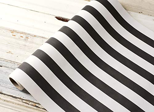 Black and White Striped Paper Table Runner - 25