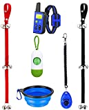 manfiter Dog Training Collar with Remote, Shock Collars for Dogs with Remote Range 2660Ft with Dog Doorbell Collapsible Dog Bowl and Dog Clicker and Potty Waste Bag Dog Clicker for Training Blue