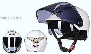 Leoie Unisex Summer Motorcycle Helmet Double Lens Sunscreen Half Helmet White Transparent