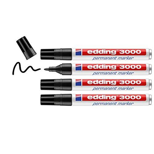 Edding 3000 - Marcador permanente Negro, 4 unidades