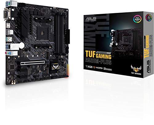 Asus TUF GAMING A520M-PLUS, scheda madre Gaming AMD A520 (Ryzen AM4) micro ATX, slot M.2, HDMI, D-Sub, DVI, USB 3.2 Gen 2 port Type-A, SATA 6 Gbps, Aura Sync RGB