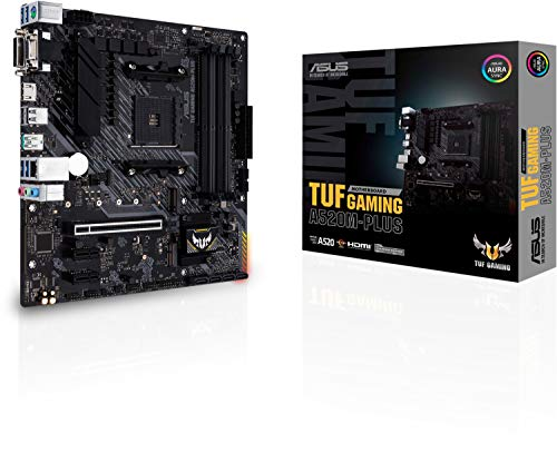 ASUS TUF Gaming A520M-PLUS - Placa Base Gaming Micro ATX AMD A520 (Ryzen 4000 AM4) con Ranura M.2, HDMI, D-Sub, DVI, USB 3.2 Gen 2 Puerto Type-A, SATA 6 Gbps, Aura Sync RGB