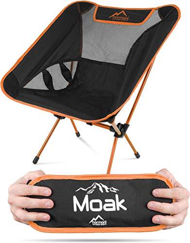 normani Ultraleichter Mini Campingstuhl MOAK 796 g! klappbarer Strandstuhl Anglerstuhl mit Aluminiumgestell - Stabiler Outdoorstuhl - Traglast: 135 Kg (330 lbs) Farbe Sun Orange