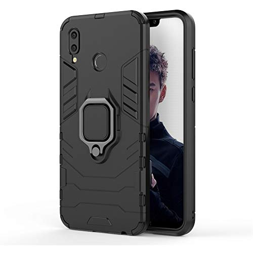 CHcase Huawei Honor Play Hülle, Hybrid 2in1 TPU+PC Schutzhülle Rugged Armor with Magnetic Car Mount Hülle Cover Dual Layer Bumper Backcover mit Ständer für Huawei Honor Play -All Black