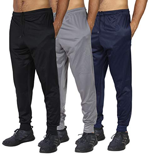 3 Pack: Mens Sweatpants Joggers Track Pants Athletic Workout Gym Apparel Training Fleece Tapered Slim Fit Tiro Soccer Casual-Set 4,XL
