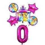 YGUIYONG Globos 6 unids Tres Princesa Pastel lámina bebé niñas decoración de cumpleaños Fiesta 32 Pulgada número Globo Conjunto de niños Regalo Regalo (Color : 0)