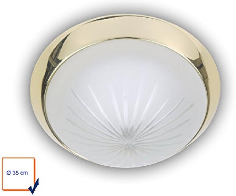 Niermann Standby LED Deckenleuchte, Klassische Deckenschale rund  35cm, Schliffglas satiniert mit einem Dekorring in Messing poliert, schne LED Dielenleuchte mit Bajonettverschlu