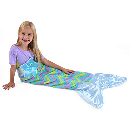 Snuggie Tails Mermaid Comfy, Cozy, Super Soft, Warm, All Season, Wearable Blanket for Kids, As Seen on TV (Blue)