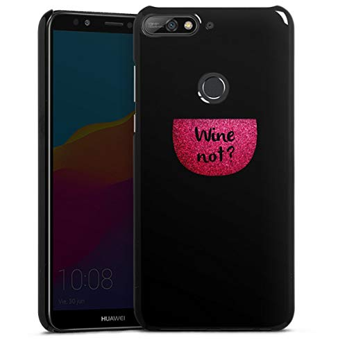 Hardcase compatibel met Huawei Y7 (2018) Telefoonhoesje Hoesje Wijn Spreuken Transparant