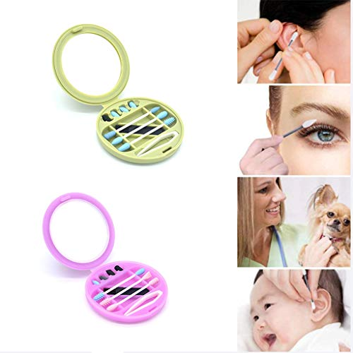 CNTL-COVER Coton-Tige Réutilisable, Coton-Tige Coton-Tige Portable Nettoyable pour Le Nettoyage des Oreilles Maquillage Beauté Traitement Maquillage Pack 2 (Vert Et Rose)