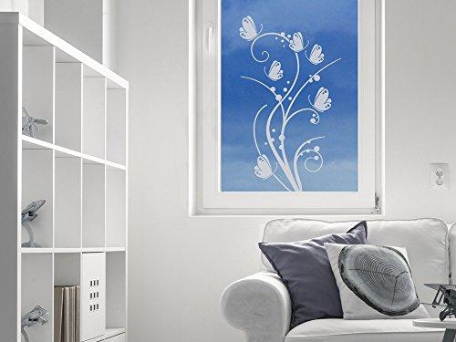 GRAZDesign raamtattoo vlinders bloem, raamafbeelding glazen deur sticker voor woonkamer, keuken, hal 71x40cm