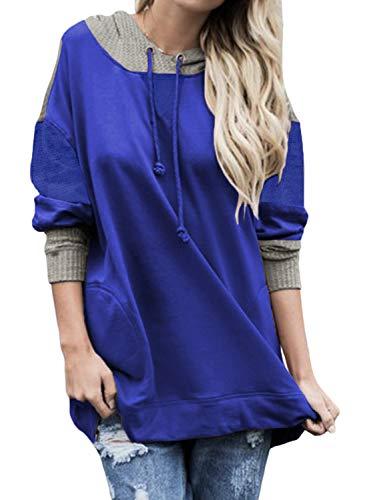 CORAFRITZ - Sudadera con capucha para mujer, diseño de hombros caídos