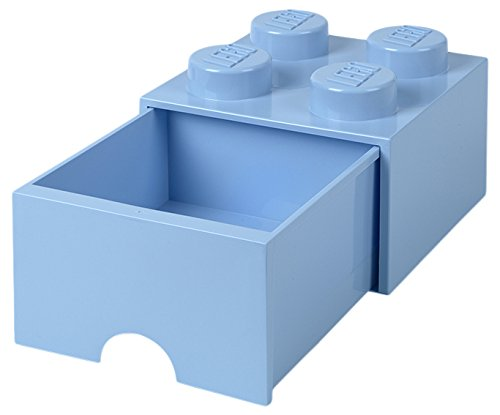 Room Copenhagen 4005 Lego Ladrillo 4 pomos, 1 cajón, Caja de almacenaje apilable, 4,7 l, Legion/Light Royal Blue, 25 x 25 x 18 cm