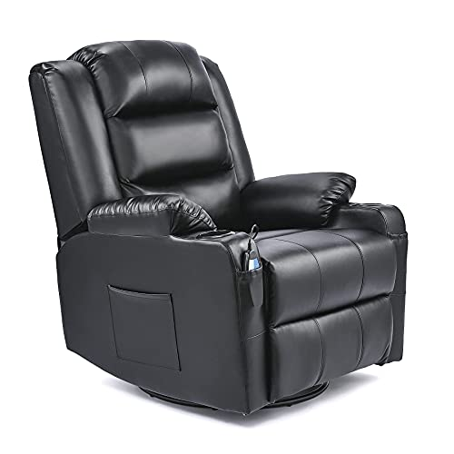 VONLUCE Leather Recliner Chair, 360 Swivel Heated Reclining Chair with...