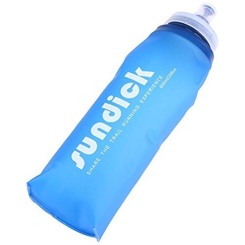 Domybest 600 ml Portable Camping bouteilles pliable en silicone TPU Eau Sac Souple Squeeze randonnée Flasque pour sac d'hydratation, Suction Nozzle