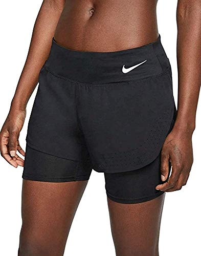 Nike 2in1 Eclipse Shorts Femme Noir/Reflective Silver FR : S (Taille Fabricant : S)