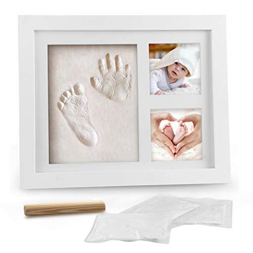 Baby Handabdruck und Fußabdruck, Migimi Baby Holz Bilderrahmen mit Gipsabdruck, Hand und Fuß Gipsabdruck Set Abdruckset Fussabdruck - Geschenken für Babys, Neugeborene - Erinnerungen für die Ewigkeit