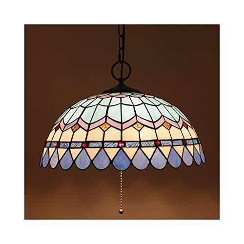 16 Zoll Tiffany Pendelleuchte Blau Decken Hängelampe Mehrfarbig Muster Runden Pendellampe Vintage Kreative Beleuchtung Wohnzimmer Lampe Muschel Lampenschirm Kronleuchter 1*E27 (Schalter Ziehen)